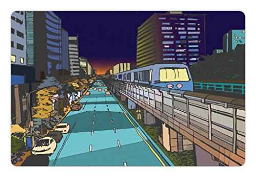 Metro Dog Bed - Lunarable Urban Pet Mat for Food and Water, Colorful Street View Illustration of Urban Residential Area and Overground Metro Line, Rectangle Non-Slip Rubber Mat for Dogs and Cats, Multicolor