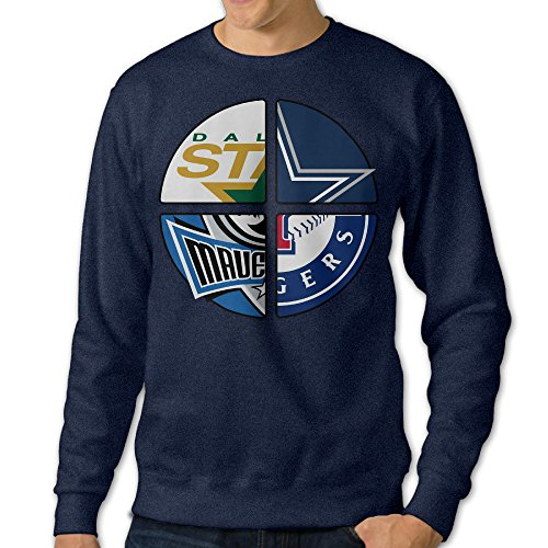 BestGifts Men's Dallas Sport Logo Mixed Crewneck Hooded Sweatshirt Navy Size M