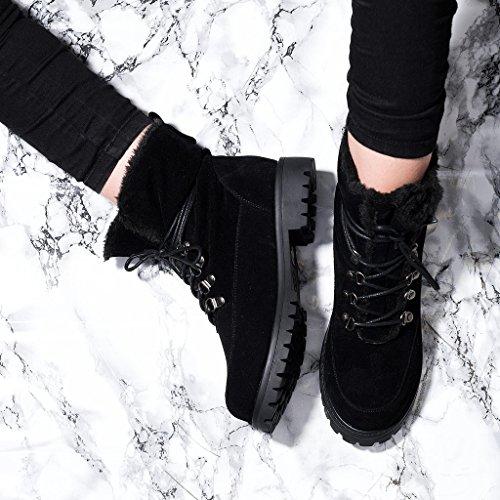 SPYLOVEBUY BABA Mujer Cordone Planos Botes Bajas Zapatos Negro - Gamuza Sintética
