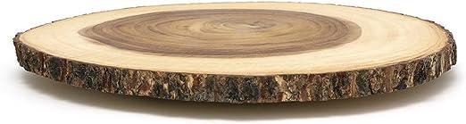 Amazon Com Lipper International Acacia Wood Large Slab Lazy Susan With Bark Rim Flatware