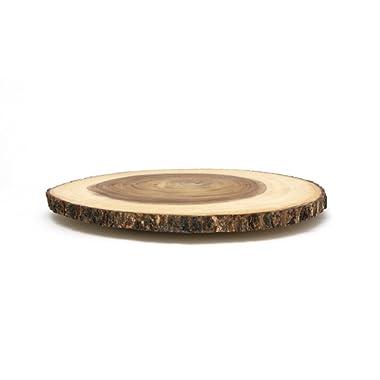 Lipper International 1066 Acacia Wood  Large Slab Lazy Susan with Bark Rim