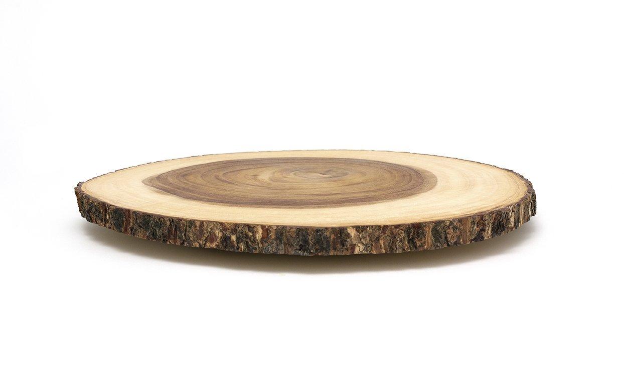 Lipper International 1066 Acacia Wood 16'' Large Slab Lazy Susan with Bark Rim