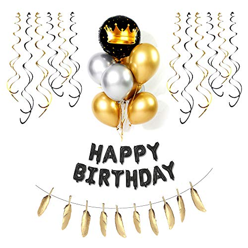 Birthday Decorations in Black and Gold,Happy Birthday Banner(3D Lettering)gold feather,Golden crown balloon with Hanging Swirls,18th 20th 30th 40th 50th 60th 70th Birthday Decorations Birthday Balloons