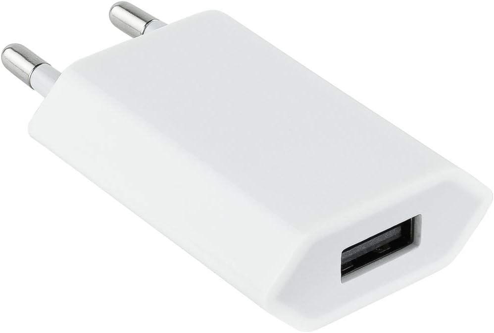 NANOCABLE 10.10.2001 - Mini Cargador USB (5V/1A) para Apple iPhone, iPad, iPod, Color Blanco