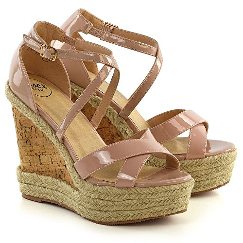 ESSEX GLAM Womens Ladies Ankle Strap Espadrilles Platform Wedge Heel Open Toe Sandals Shoes Nude Patent JHxsylQwJ