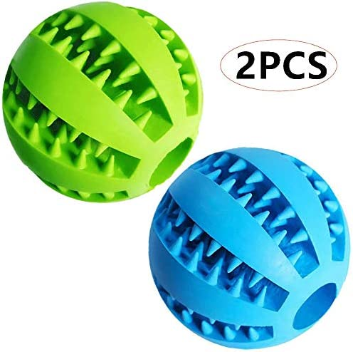 Dog Treat Toy Ball Dog Tooth Cleaning Toy Interactive Dog Toys(1 Green+1 Blue) 2.8 Pack of 2