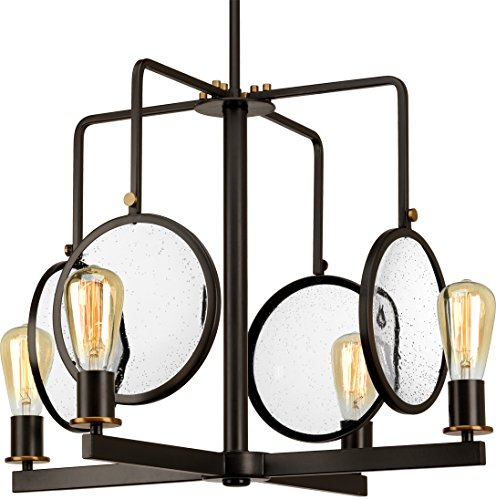 Luxury Art Deco Chandelier, Large Size: 18.25″H x 25.375″W, with Bohemian Style Elements, Olde Bronze Finish and Clear Seeded Shade, UHP2560 from The Rennes Collection by Urban Ambiance