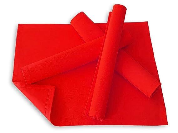 Lemos-Home Platzset Tischset Platzdeckchen 4 Stück ca. 46 x 36 cm aus Baumwolle Viele Farben (Rot)