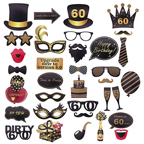 60th Birthday Photo Booth Props 60th Birthday Party DIY Supplies Decoration for Men and Women 35Pcs by MeritChoice]()