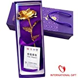 International Gift Valentine Special 24K Gold Finish Rose With Gift Box And Carry Bag With Lifetime Warrant Card (27 Cm X 9.5 Cm X 6 Cm, Golden)