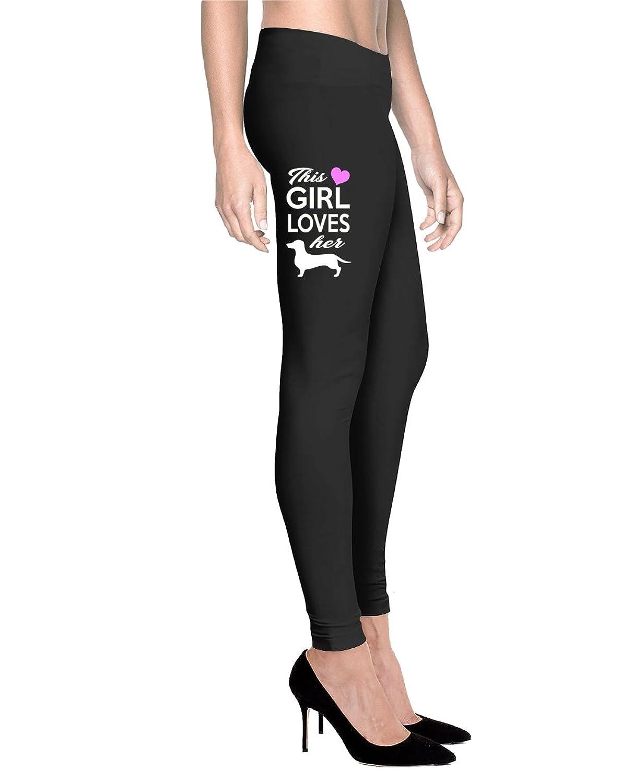 Printed Leggings This Girl Loves Her Dachshund For Mom - Women Comfort Fit Legging - Black