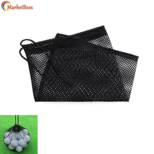 MarketBoss 2Pcs Durable Nylon Mesh Nets Bag Pouch Golf Tennis Ball 50 Balls Carrying Holder Storage Drawstring Closure ()