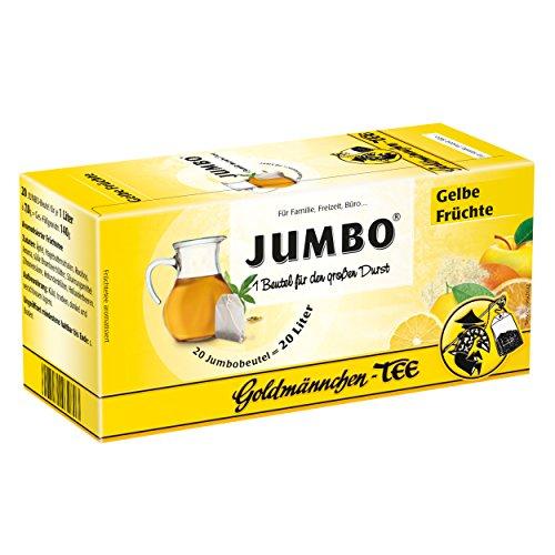 Goldmännchen Jumbo Tee Gelbe Früchte, Früchtetee, 20 Teebeutel, Große Beutel, 3180