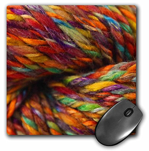 Price comparison product image 3dRose LLC 8 x 8 x 0.25 Inches Mouse Pad, Multi-Colored, Rainbow Colored Yarn (mp_100179_1)