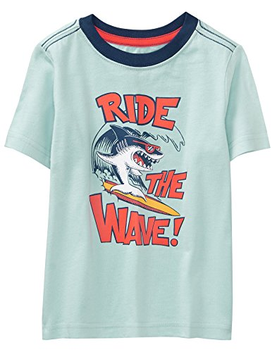 Shorts Ride Sleeve Short (Crazy 8 Boys' Toddler Short Sleeve Crewneck Graphic Tee, Stratosphere Blue Ride The Wave, 12-18 Mo)