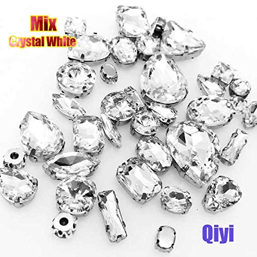 Best Quality - Rhinestones - Sell at a Loss! 50pcs/Bag Mixed Shape Crystal White Glass sew on Claw Rhinestones,DIY Clothing Accessories - by Olwen Shop - 1 PCs - Teardrop Frame