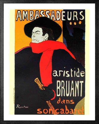 Ambassadeurs Artiside Bruant by Henri de Toulouse-Lautrec. Framed Vintage Advertising Reproduction Poster. Custom Made Real Wood Modern Charcoal Black Frame (17 1/8 x 21 1/8) ()