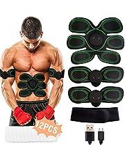 WiMiUS EMS Elektrische Muskelstimulation, USB Wiederaufladbar EMS Trainingsgerät für Arm Bauch Beine Bizeps Trizeps, EMS Bauchmuskeltrainer 8 Modi & 10 Funktionen, Gel Pad 12PCS (Grün)