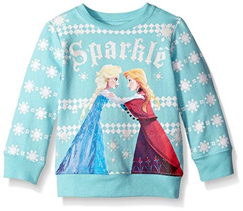 Disney Little Girls' Frozen Sisters Sparkle Toddler Nordic Crew Neck Sweater, Mint Green, 3T