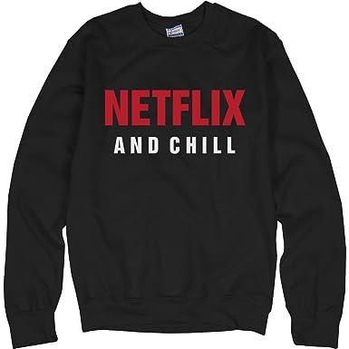 52cb80b734ae Amazon.com  Customized Girl Netflix and Chill Comfy  Unisex Ultimate  Crewneck Sweatshirt  Clothing