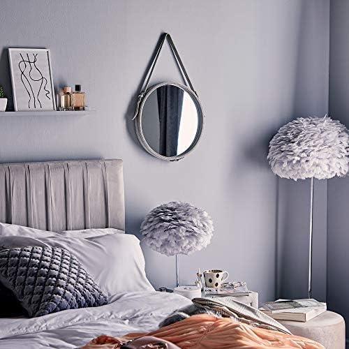 Bellezza Grigio Per Camera da Letto Ingresso Spogliatoio Decorazione Soggiorno Vanity Beautify Specchio Rotondo da Appendere con Laccio in Velluto Circolare Cerchio