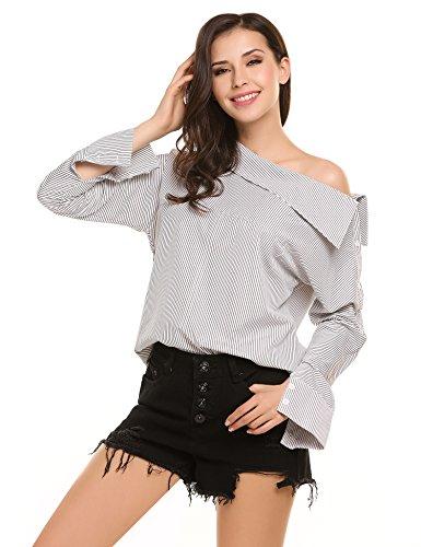 Zeagoo Women's Striped Off Shoulder Long Sleeve Casual Shirt Blouse Tops 51X0F3eEwjL