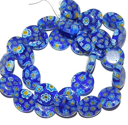 (Blue with Multi-Color Flowers 14mm Puffed Round Millefiori Glass Beads 15#ID-806)