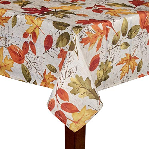 Autumnal Breeze Shimmer Fall Red & Yellow Leaves Damask Printed Fabric Tablecloth (60