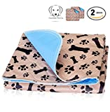quilted dog pad - Washable Pee Pads for Dogs Whelping Reusable (2-Pack) Quilted Large 35 x 31 Extra Absorbent Layered Waterproof Mat Puppy Adult Senior Pets Pooch   Home Travel or Crate Training Whelping Dog Wee Wee