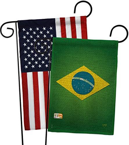 Breeze Decor GP108090-DBAB Brazil Burlap Flags of The World Nationality Impressions Decorative Vertical 13