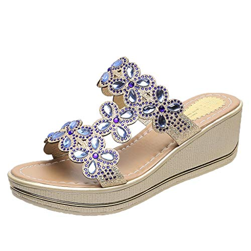 (2019 New Womens Casual Bohemia Crystal Wedges Shoes Outdoor Thick Peep Toe Platform Lightweight Cool Feel Slippers Sandals (Blue, US:6))