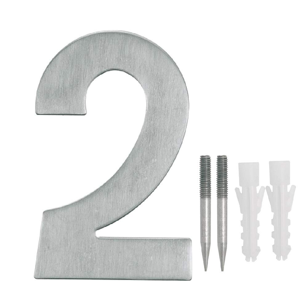 NUZAMAS Door Numbers Plaques 2, Stainless Steel Hotel House Address Plaque Digits Plate Signs Street Numbers, Wall Mounted, 10.8cm Width 15cm High, Installation Kit Included