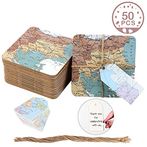 Wmbetter 50Pcs World Map Cork Coasters Wedding Party Gifts with Thank you Tags, Around the World Map Favor for Baby Shower Wedding Decorations ()