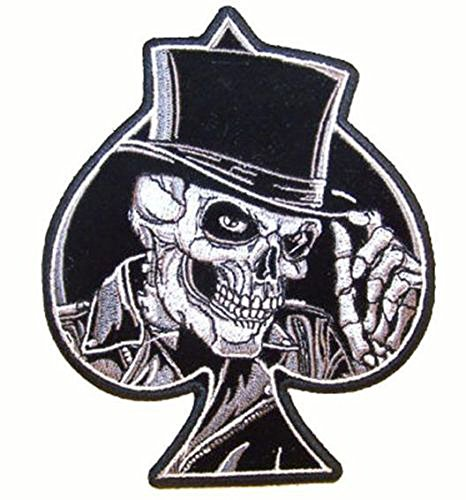 Skeleton Skull with Top Hat Inside Spades - Novelty Embroidered Biker Jacket Patch - Iron on Backing or Sew On