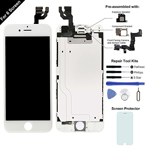 Display Touch Screen LCD Digitizer Assembly for iPhone 6 (4.7 inch) Replacement (with Front Facing Camera and Sensor + Earpiece Speaker + Shield Plate) (Free Repair Tool Kits) - Replacements International