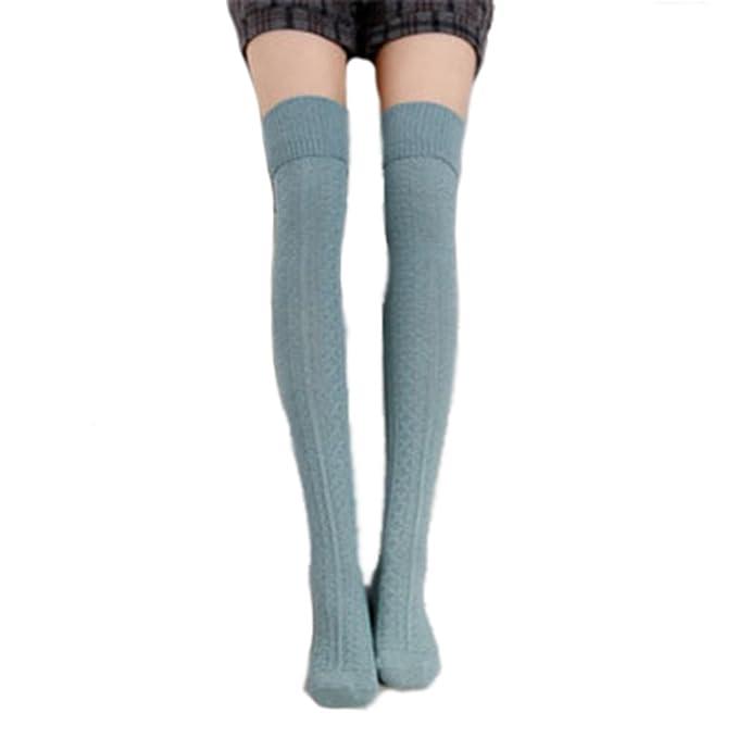 calcetines hasta la rodilla algodón medias mujer piernas calientes--verde claro: Amazon.es: Ropa y accesorios