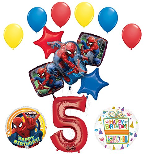 Mayflower Products The Ultimate Spider-Man 5th Birthday Party Supplies and Balloon Decorations