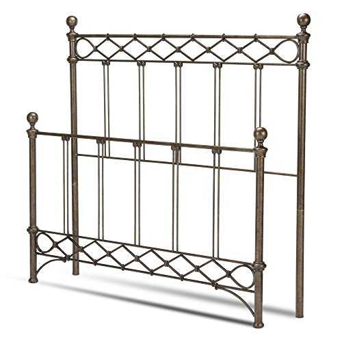 Fashion Bed Group Argyle Bed with Round Finial Posts and Diamond Wire Metal Grill Design, Copper Chrome Finish, California King