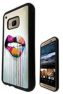 Watercolour Sexy Lips Fun Fashion Design htc One M9 Fashion Trend SILICONE GEL RUBBER CASE COVER Full Sides and top Case