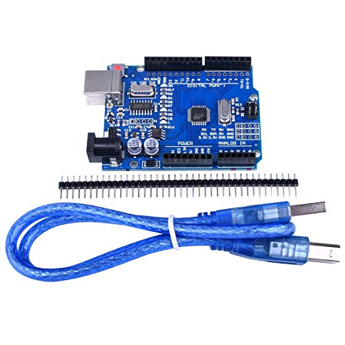 Quimat ATmega328P CH340 Development Board Compatible with ArduinoIDE Development Kit,  Microcontroller includes USB Cable, Straight Pin Header 2.54mm Pitch Robot Parts