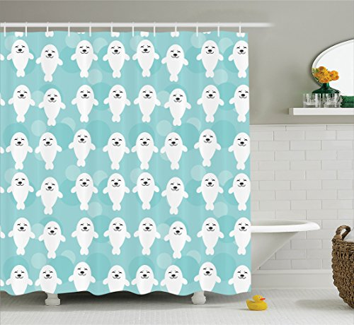 Sea Animals Decor Shower Curtain Set By Ambesonne, White Baby Seals With Cute Faces Children Baby Smiling Cheerful Kids, Bathroom Accessories, 69W X 70L Inches