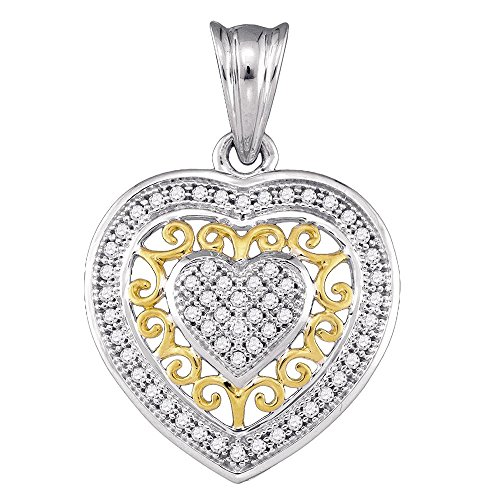 Roy Rose Jewelry 10K Two-tone Gold Womens Round Diamond Openwork Heart Pendant 1/6-Carat (Two Tone Openwork)