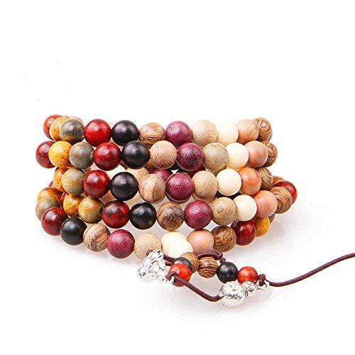 108pcs Variety of Sandalwood Tibetan Buddhist Prayer Beads Bracelets Buddha Mala Rosary Wooden Charm Bracelet Bangle Diy Jewelr (6mm 108)