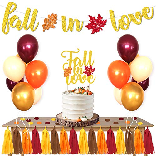 Fall Bridal Shower Ideas (Fall In Love Party Favors Supplies Set Maple Leaves Banner Cake Topper Balloons Tissue Paper Tassels Garland Confetti Bridal Shower Engagement Wedding Party Photo Props Ideas)