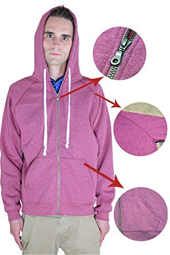 Men's Full Zip Fleece Hooded Hoodie Sweatshirt By Rejawece (X-Large, Red) (United Face Down Jacket compare prices)