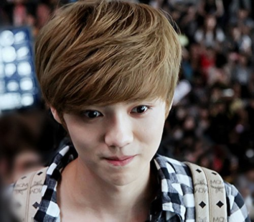 Natural-look wig male Korean student fluffy wig oblique bangs short hair handsome male wig