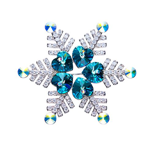 IUHA Christmas Snowflake Sparkling Brooch Made with Swarovski Crystals Party Holiday for Women Girls Gift by IUHA (Image #1)