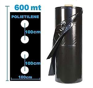 Toalla pacciamante 600MT X 1Mt agujeros Central cada 100cm polietileno Cubierta primitiva antierbacce cultivos plástico Orto