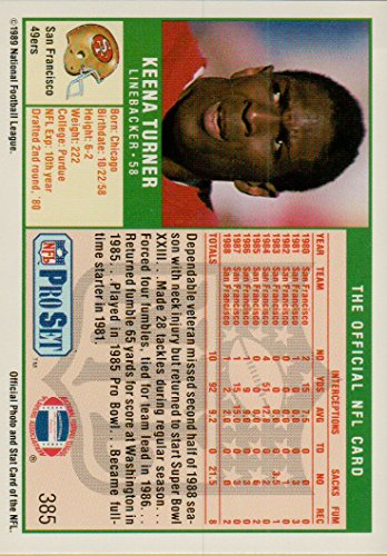Amazon com : Football NFL 1989 Pro Set #385 Keena Turner