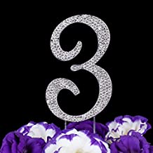 LOVENJOY with Gift Box Number 3 3rd Sparkly Crystal Rhinestone Happy Wedding Anniversary Birthday Cake Toppers Silver (2.8-inch)
